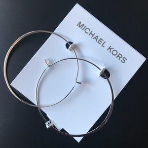 Michael Kors silver hoop earrings.